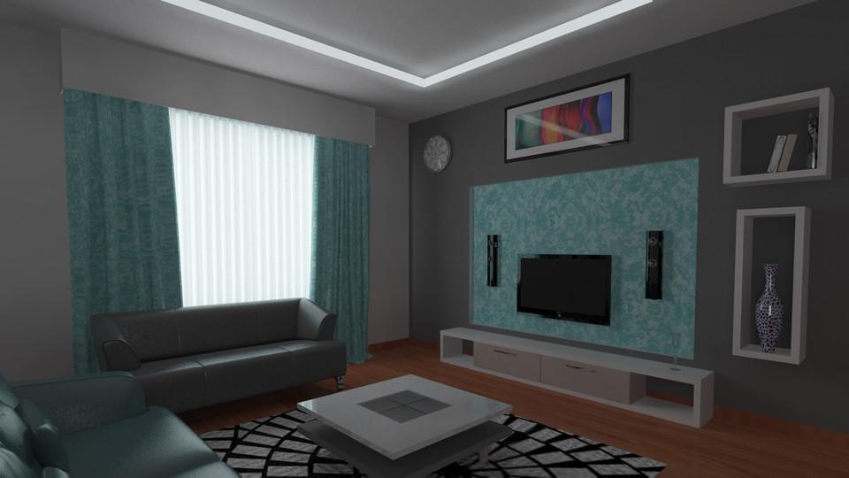 3d max living room design  Living Room   3D CAD Model Library   GrabCAD