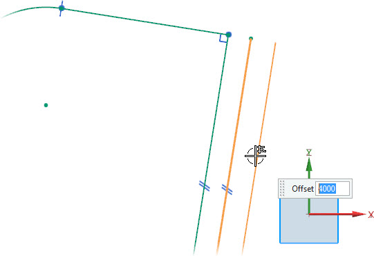 NX 10 Sketch Derived Lines(Creating an Offset Line Parallel