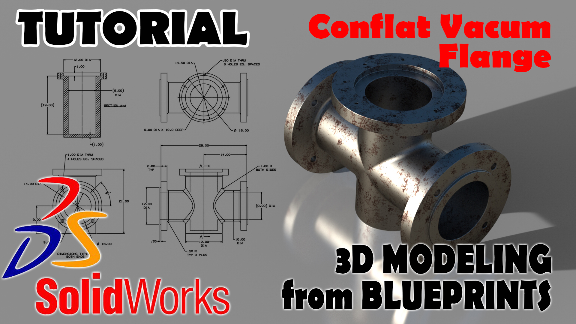 SolidWorks tutorial 3D MODELING FROM BLUEPRINTS Crosses Conflate