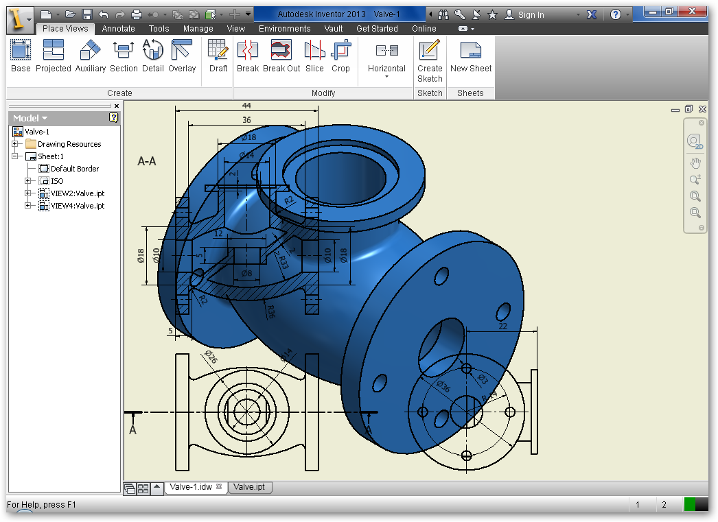 Autodesk Inventor Valve 2d Into 3d Modeling Revolve Extrude Grabcad Tutorials
