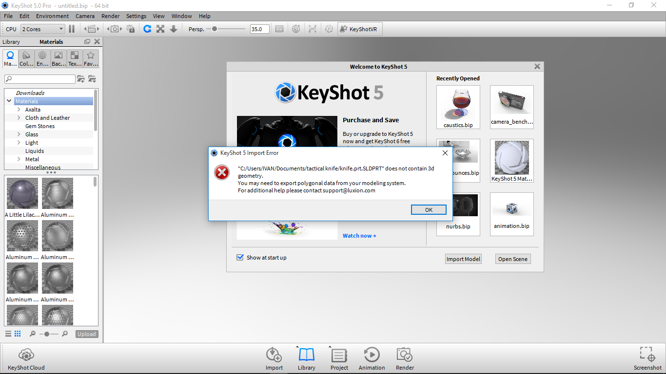 keyshot says : does not contain 3d geometry  you may need to export