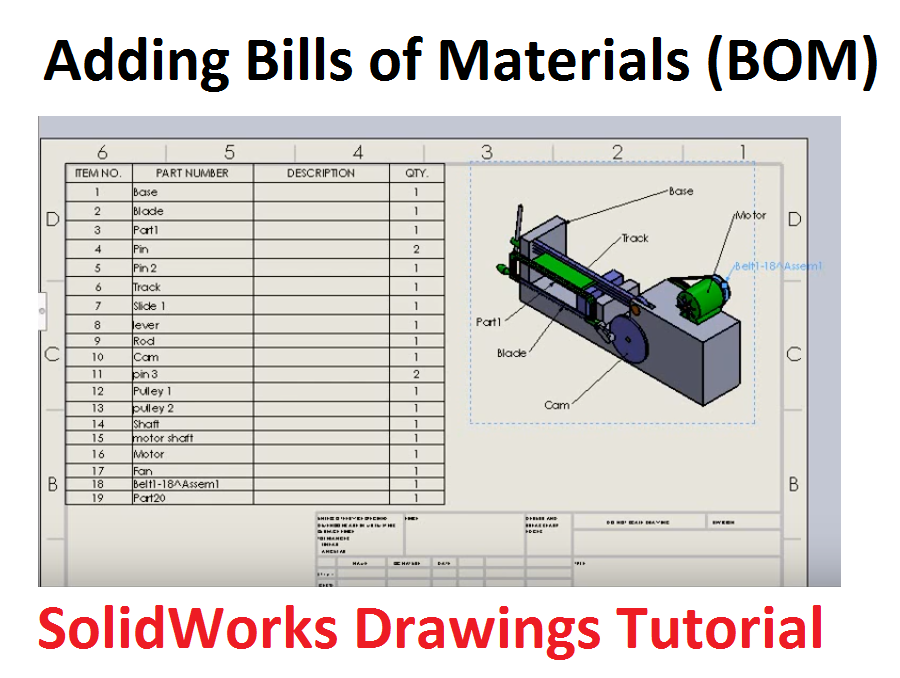 Bill Of Material   Adding Bill Of Material Bom And Balloons In Solidworks Drawings