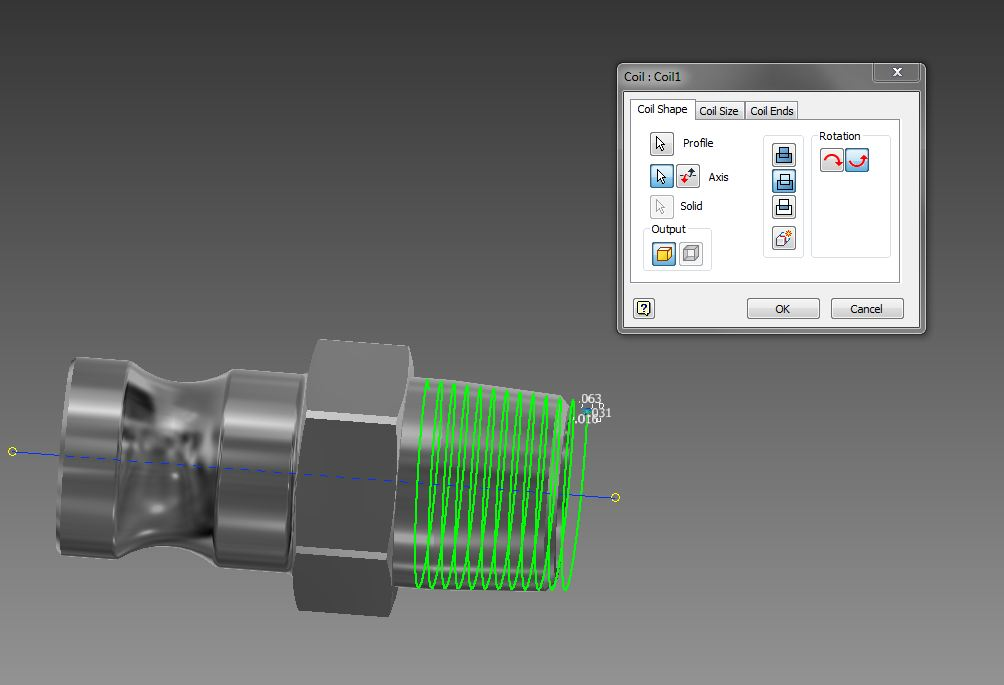 How to create NPT (national pipe taper) threads using inventor