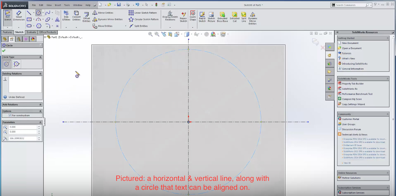 Using text in solidworks grabcad tutorials text on vertical lines horizontal lines curved lines etc to do this select the line tool or circle tool and choose the type of guide curve you ccuart Image collections