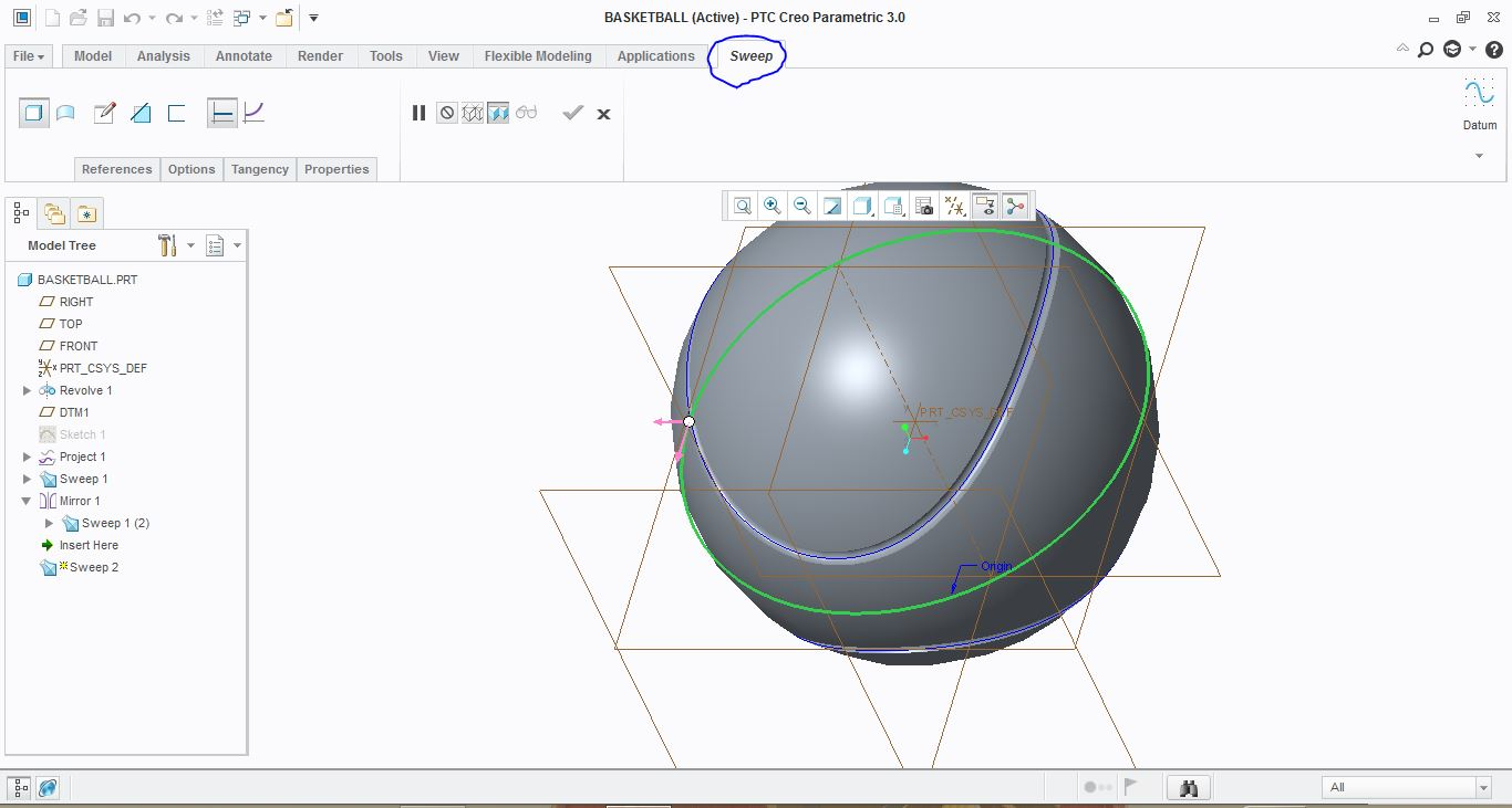 Create basketball using creo 3 0 grabcad - Creo projects ...