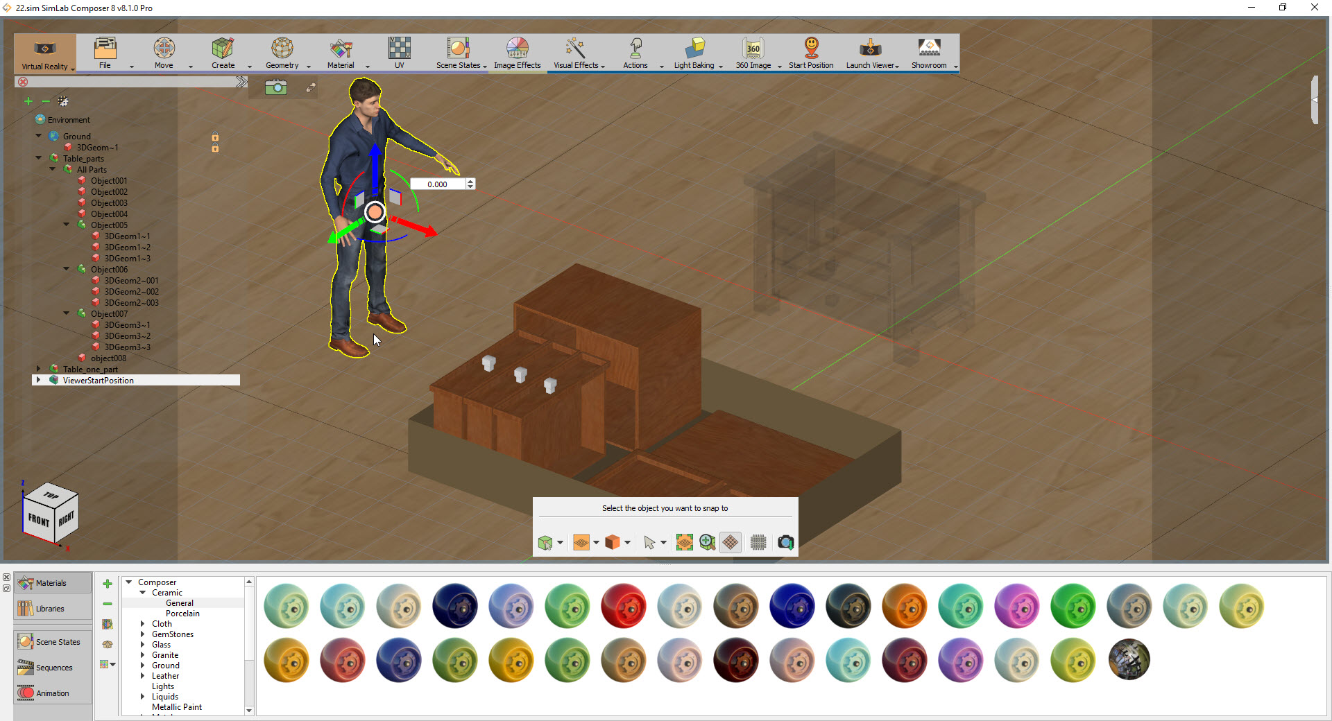 How to assemble separate components of a 3D model in virtual