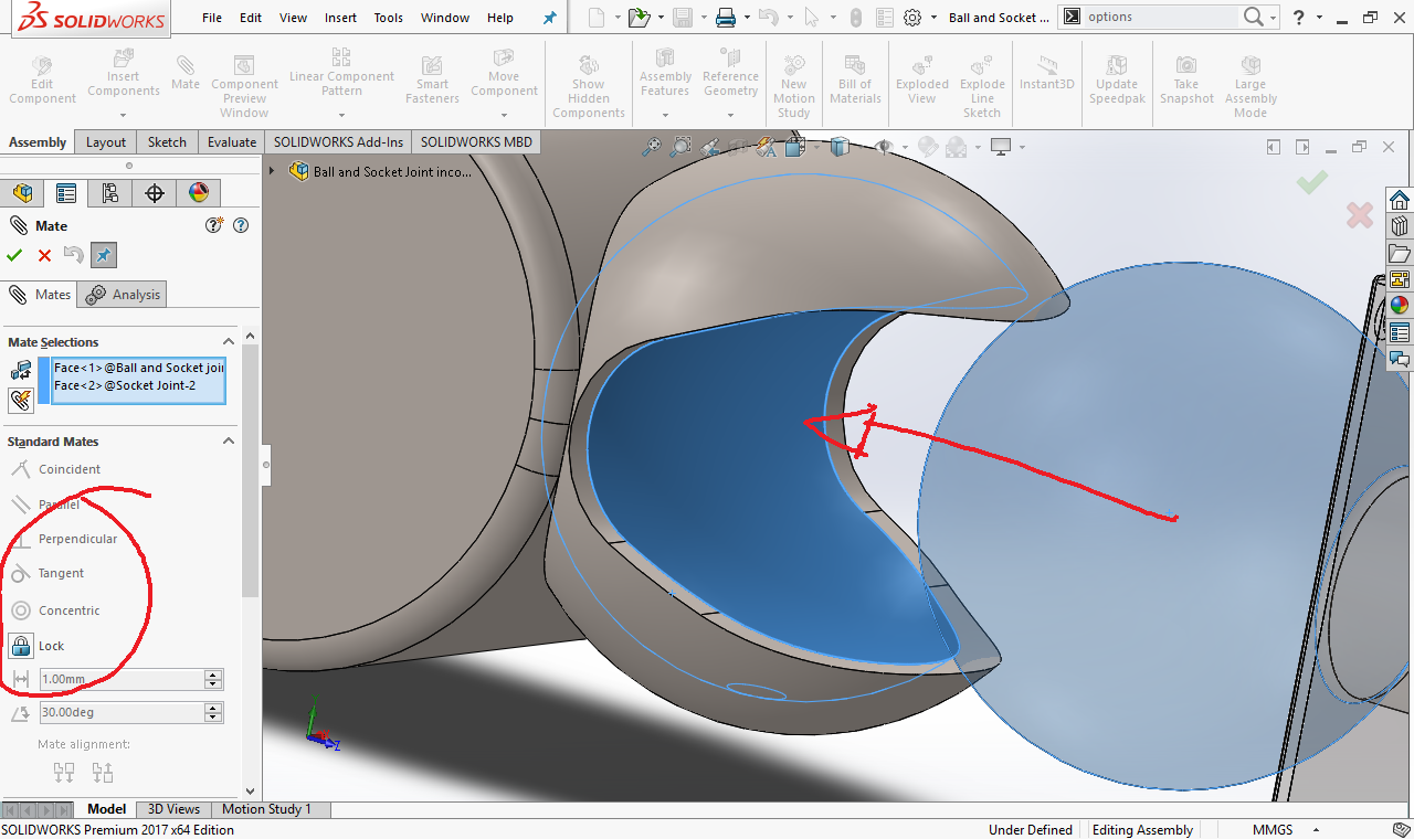 Having Some Trouble With Mating A Ball And Socket Joint Grabcad