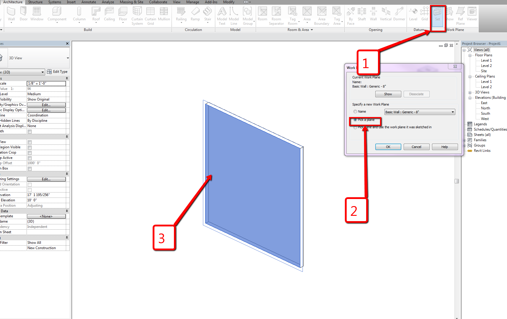 How Can I add Dimensions in 3D view Revit Architecture