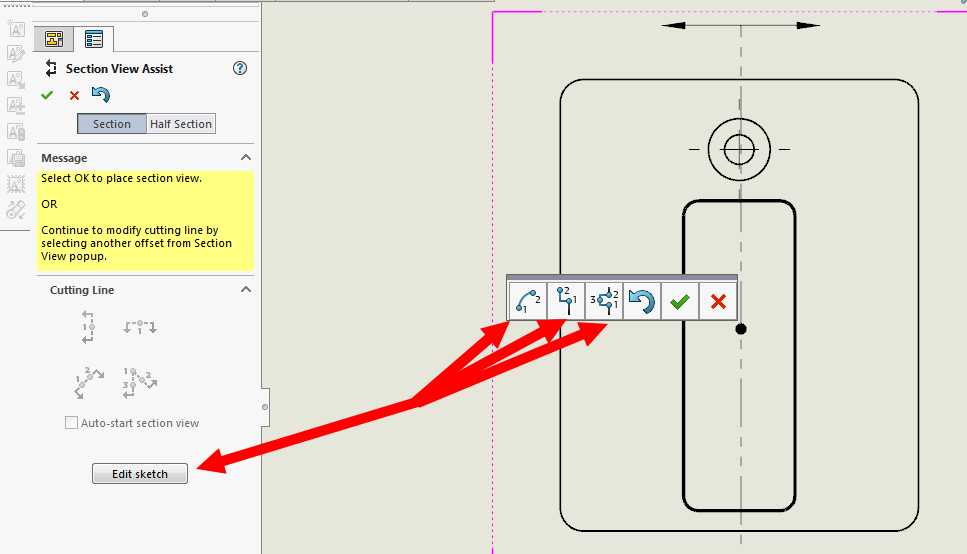 Broken Section Cutting Line With Solidworks Drafting Grabcad Questions
