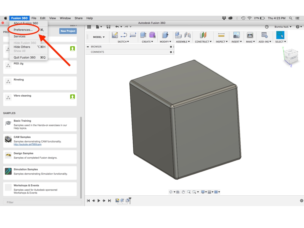 Activate Orbit/Rotate feature via Mouse in Fusion 360