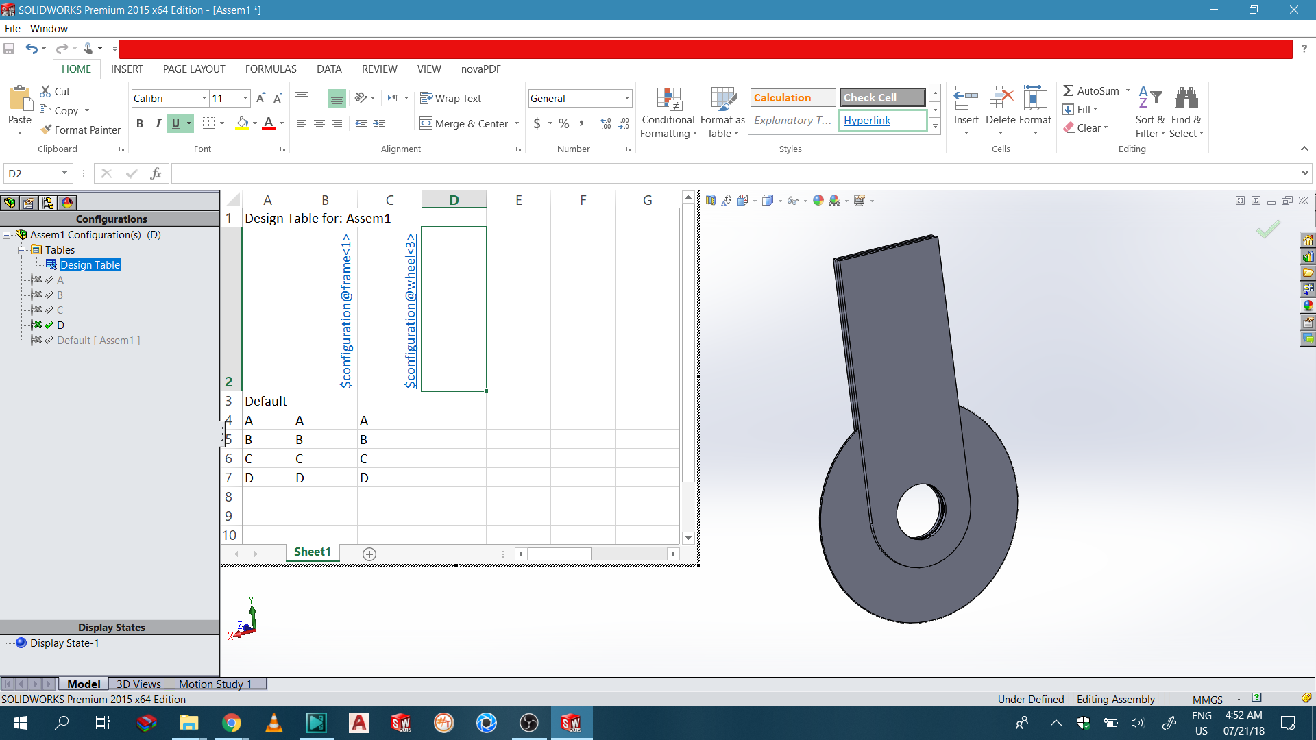 How to Create DESIGN TABLE for Assembly file in Solidworks