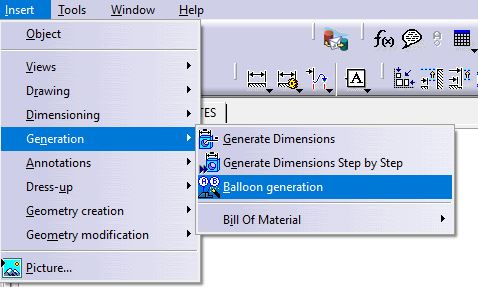 How to create a linked BOM and balloons in a CATIA drawing