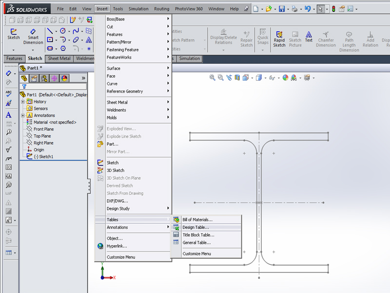 Profile with design table | GrabCAD Tutorials