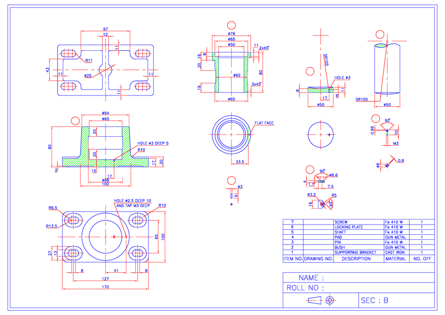 Drawing Lines In Autocad Using Bearings : How to make foot step bearing in catiya grabcad