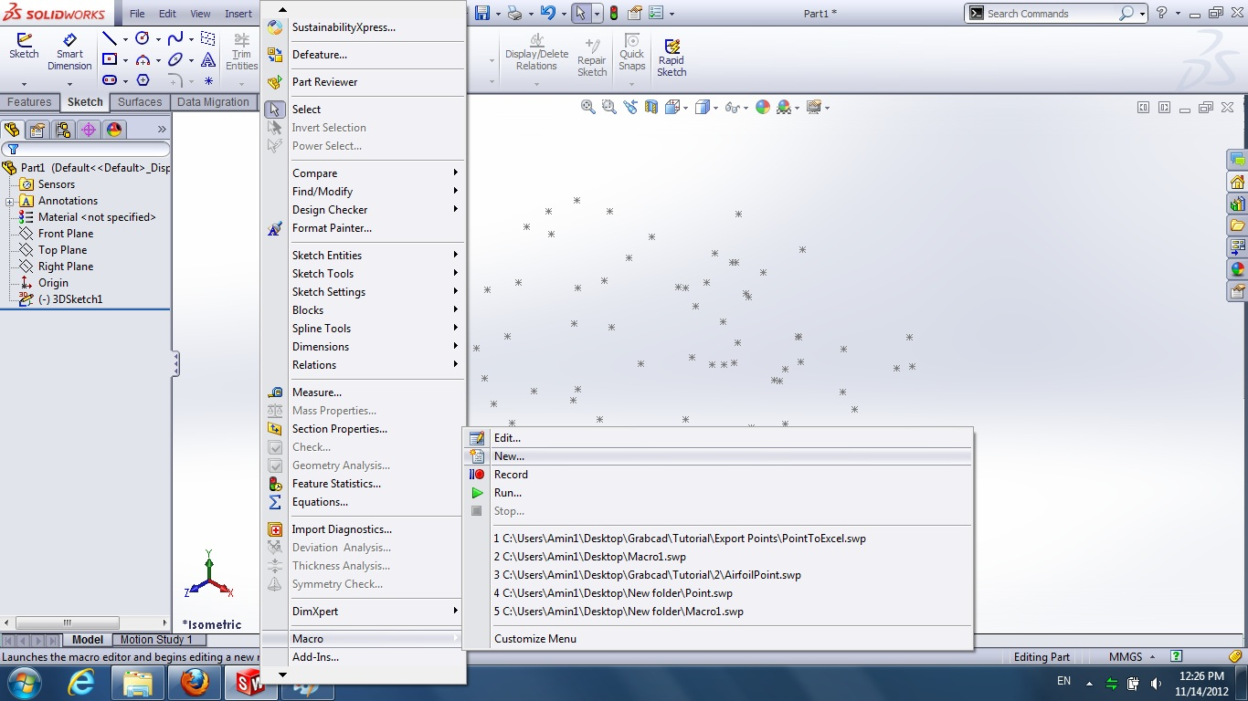 Tutorial-How to export points from solidworks to a excel