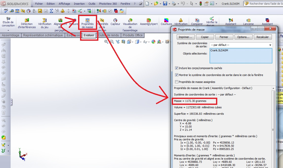 how to calculate the mass of the assembly in solidworks