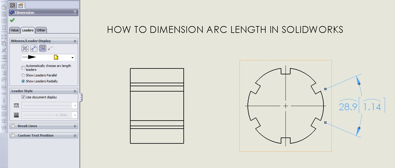 How To Dimension Arc Length On Solidworks Drawing Grabcad Tutorials