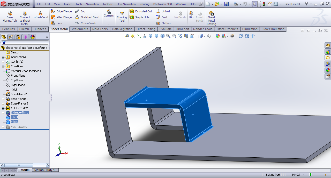 Problem With Creating Sheet Metal Feature In Solidworks