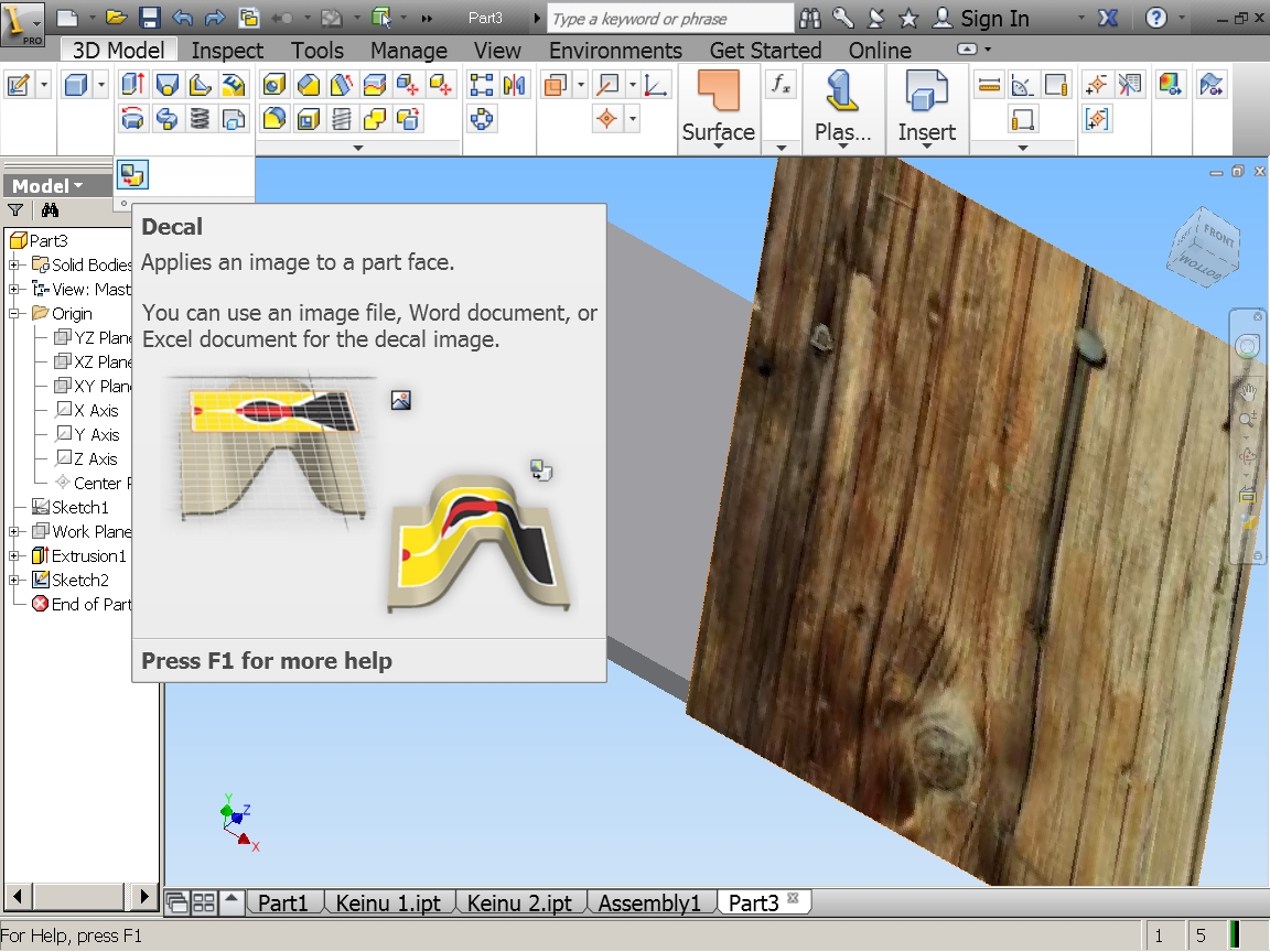 How to add wood pattern to AutoCad 3D model? | GrabCAD Questions