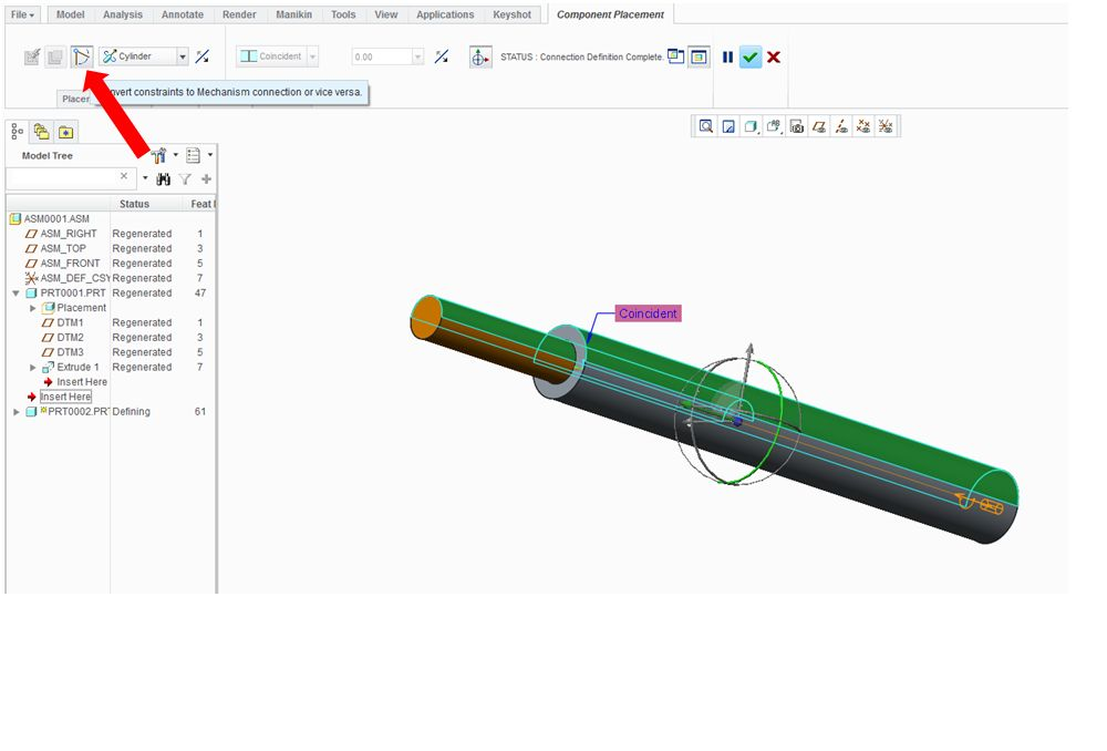 How to build a linear motion (with linear actuator) in Creo