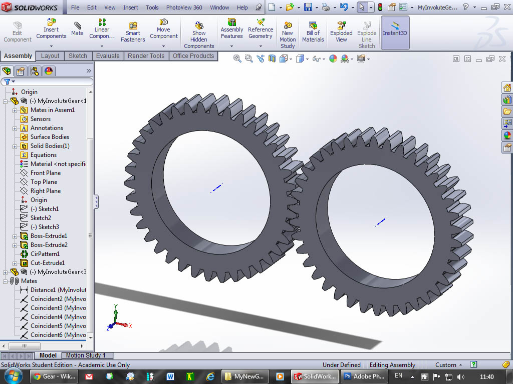Tutorial: How to model involute gears in SolidWorks and show