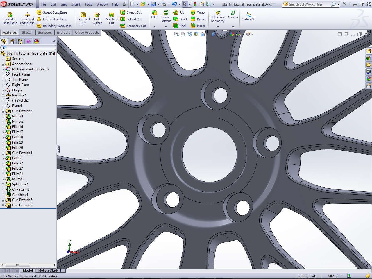 Tutorial how to model a bbs lm wheel in solidworks and show design ok lets wrap our work beginning with the lugnuts holes cut extrude through all a smaller diameter hole and cut extrude until the middle of the malvernweather Choice Image