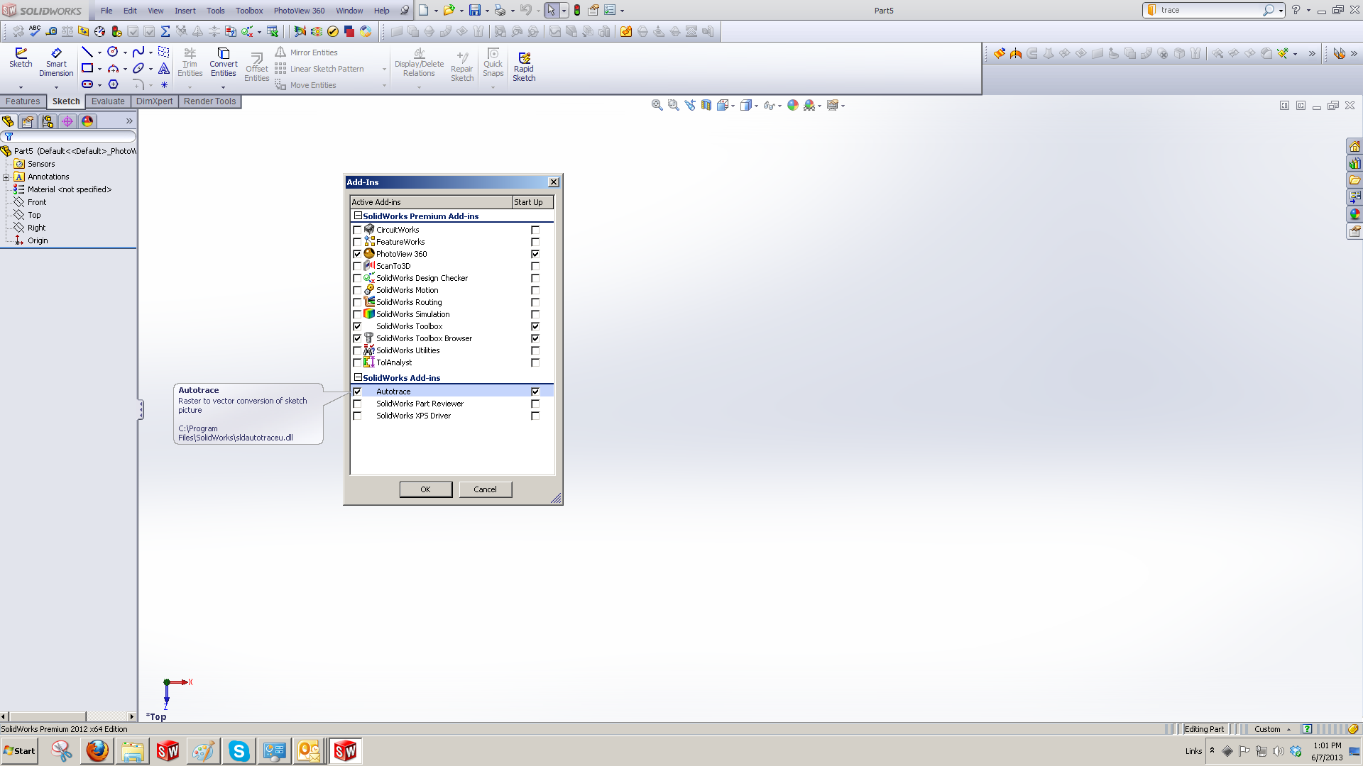 solidworks autotrace add in