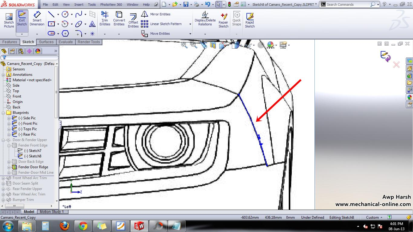 Tutorial on how to model a car part 3 grabcad tutorials the 3d curve at the same point will ensure your projected curve will be in the right spot go ahead and adjust the curvature to match the blueprint malvernweather Image collections