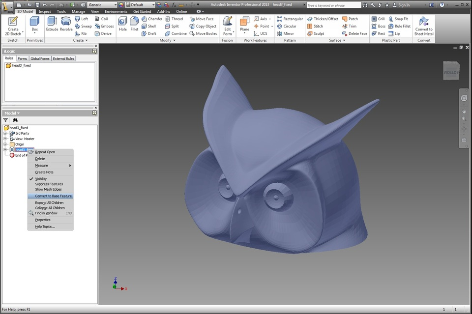 Tutorial convert stl mesh to solid file in autodesk File stl