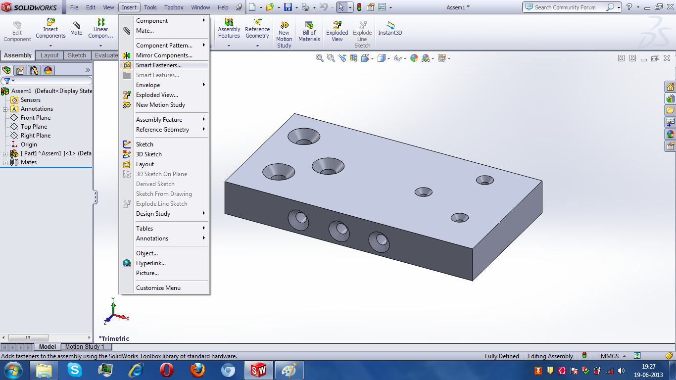 How to use Smart Fastener feature in assembly module in