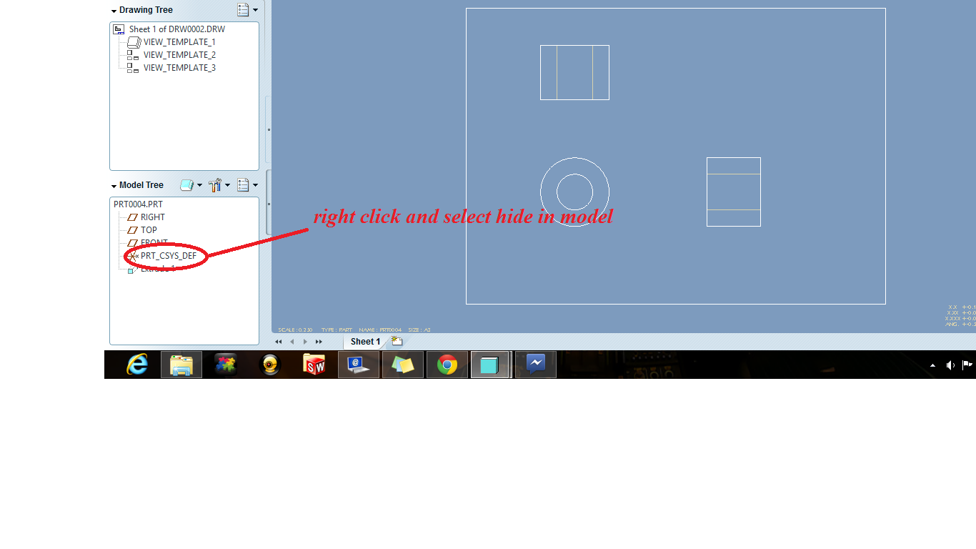 How to hide or remove the pcd & axis lines from the drawing? proe 5 ...