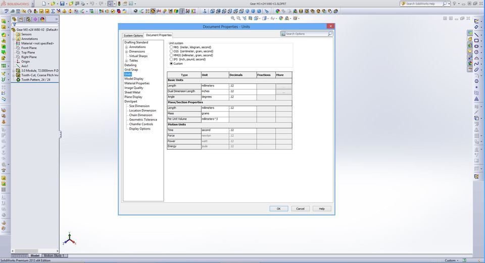 how to change solidworks part from inches to mm