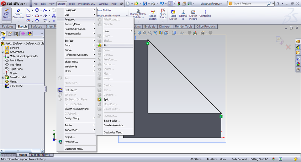 Tutorial - Rib feature in SolidWorks? - GrabCAD