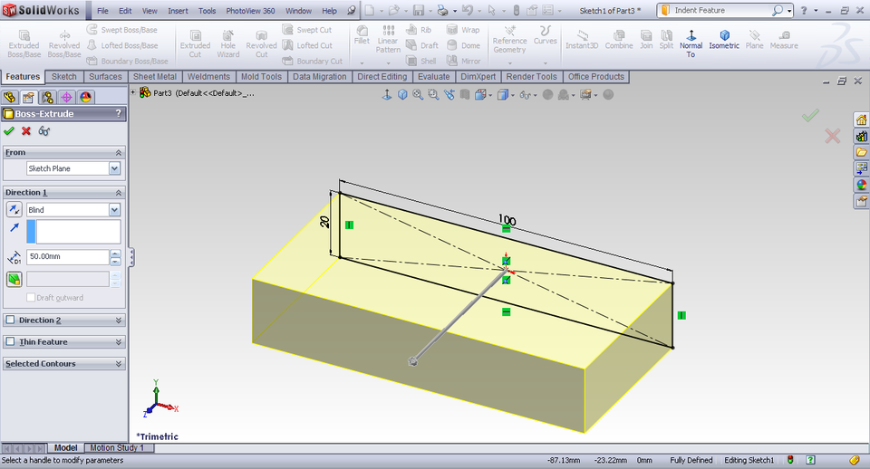 how to cut into sufacers in solidworks
