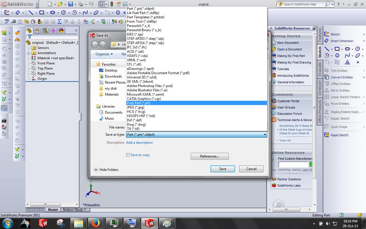 How can i convert the catia files into  3dm  stl  prt etc