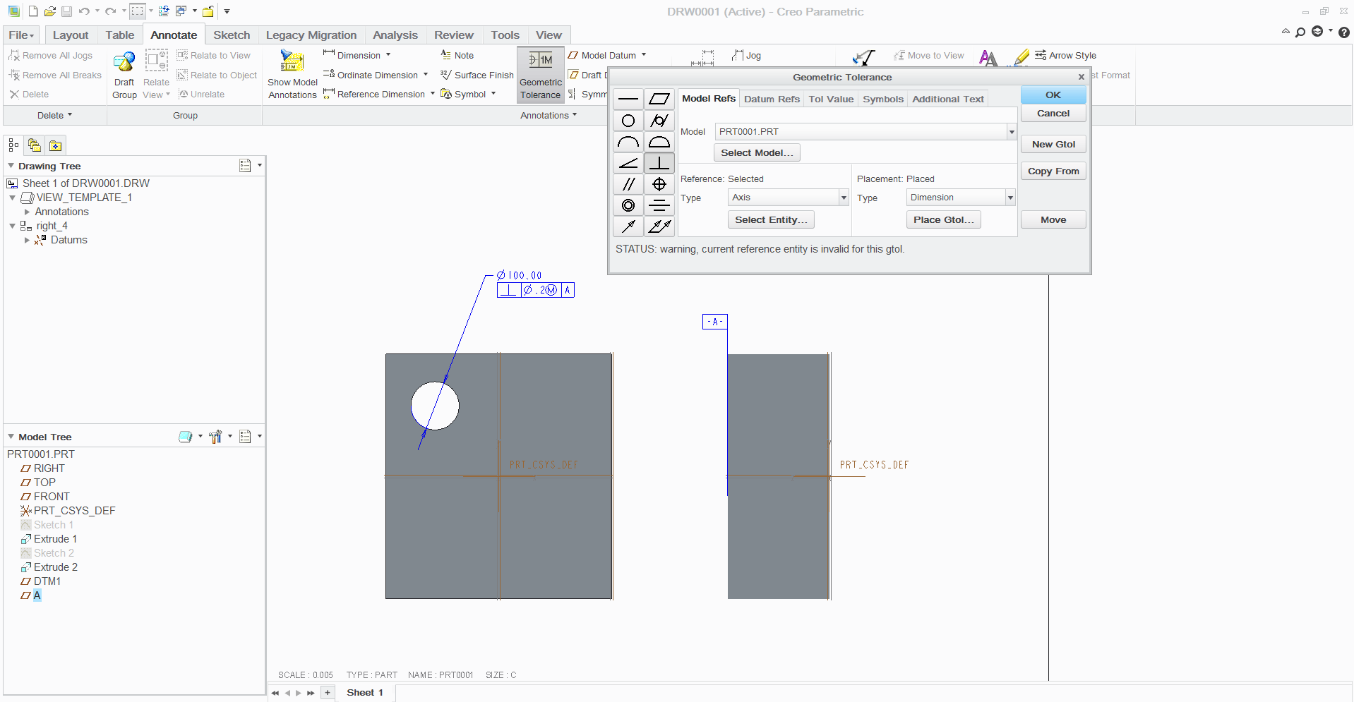 How To Give Geometric Tolerances In Creo Parametric Grabcad Questions