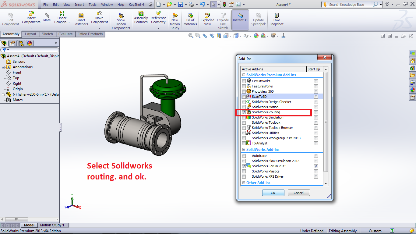Tutorial Routing Pipes And Tubes In Solidworks Grabcad Tutorials Piping Diagram Select Tools Add Ins