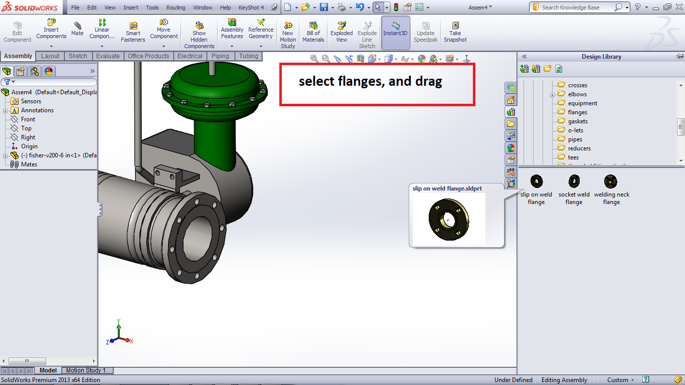 and select a design library - Routing - Piping - flange - choose one, here  I use the slip on weld flange.