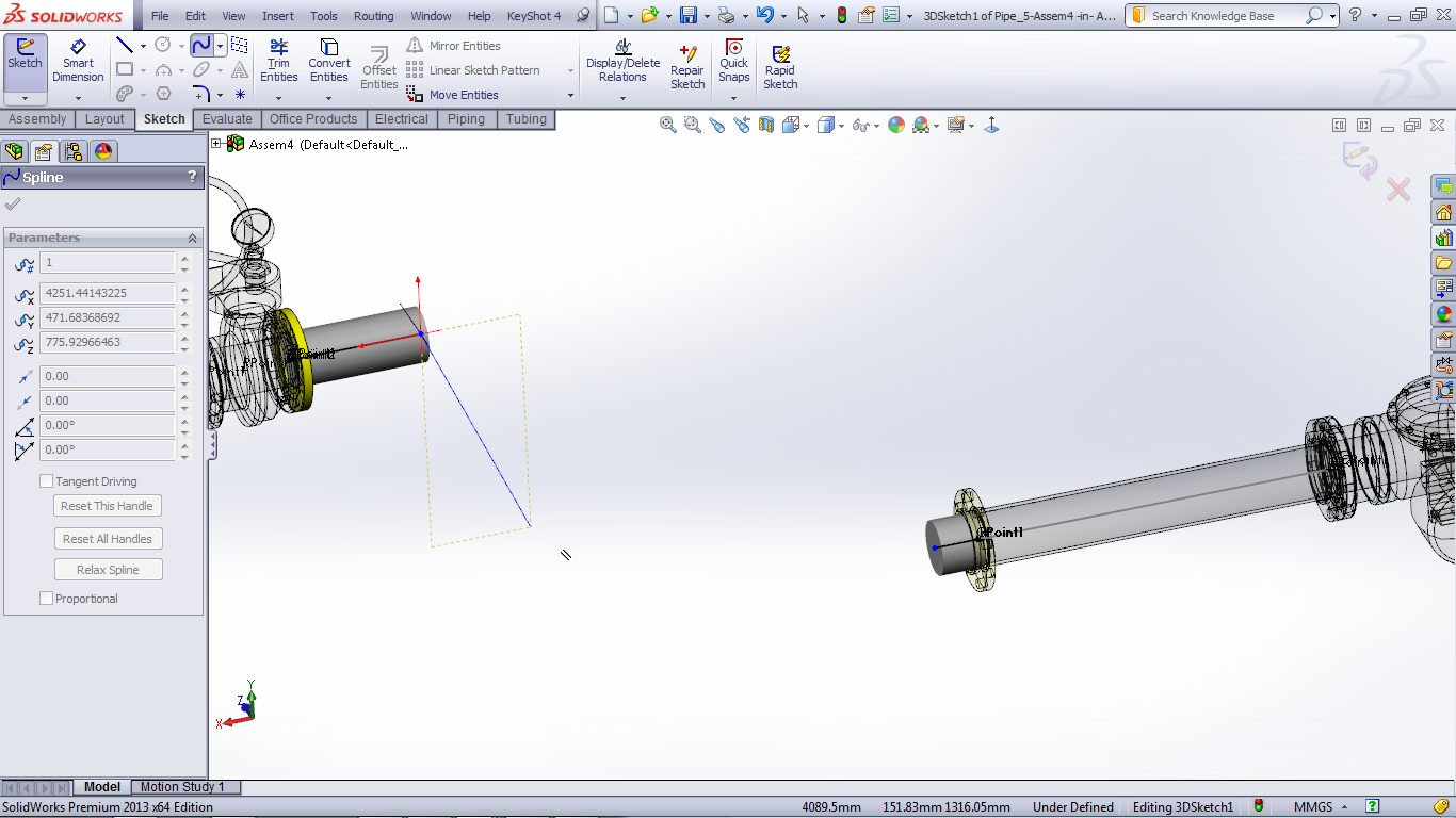 Tutorial Routing Pipes And Tubes In Solidworks Grabcad Tutorials Piping Layout Manual Will Display The Image Like This Then I Make Line Manually Because It Does Not Use Auto Route