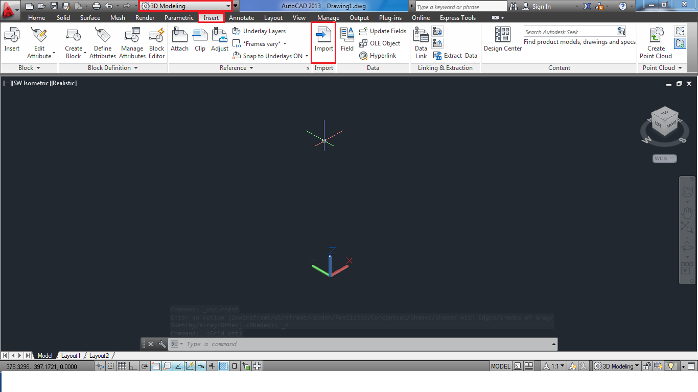 first open autocad and ensure that you are in 3d modeling mode now under insert selct import option