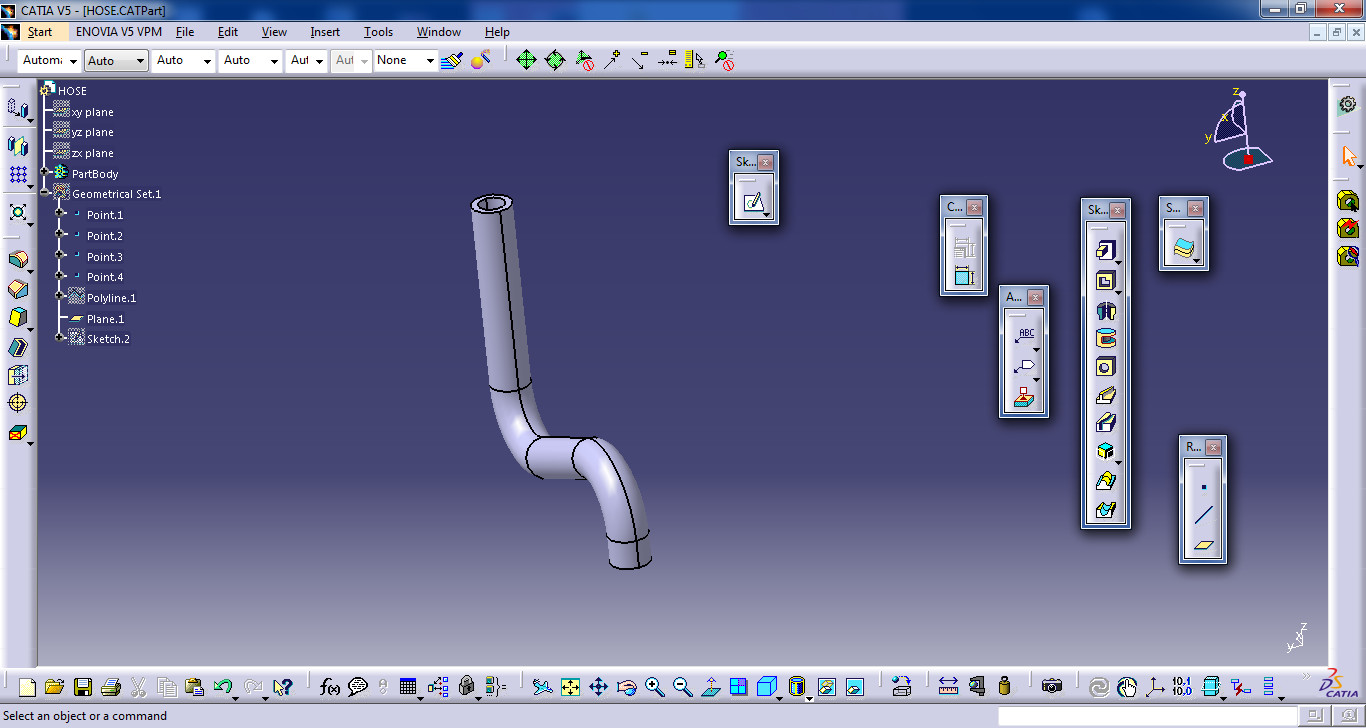tutorial create rubber hose in catia grabcad questions. Black Bedroom Furniture Sets. Home Design Ideas