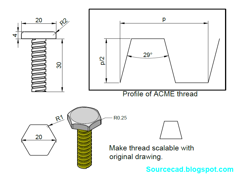 Tutorial to design 3D AcME Bolt in autocad | GrabCAD Questions