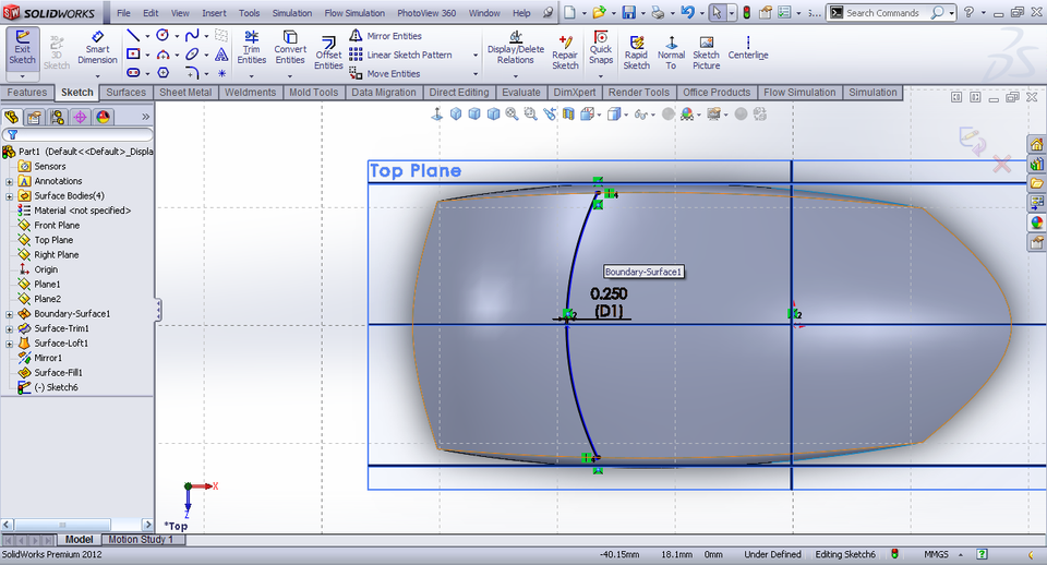 how to add surface in solidworks