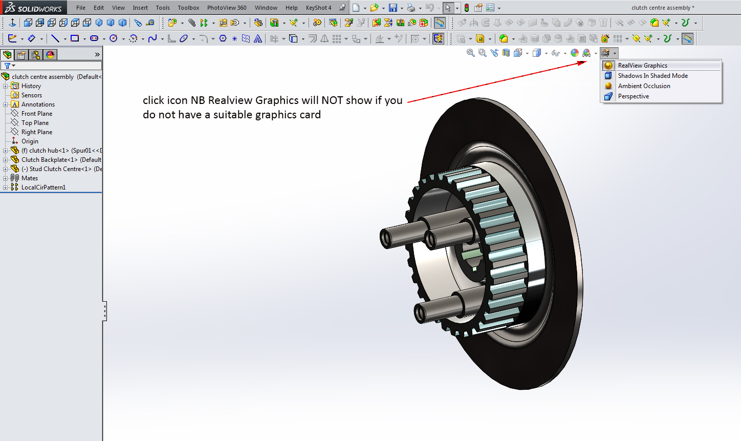 How to active solidworks realview graphics? | GrabCAD Questions