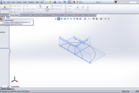 Lofted Sheet Metal Solidworks Solidworks Lofted Bend