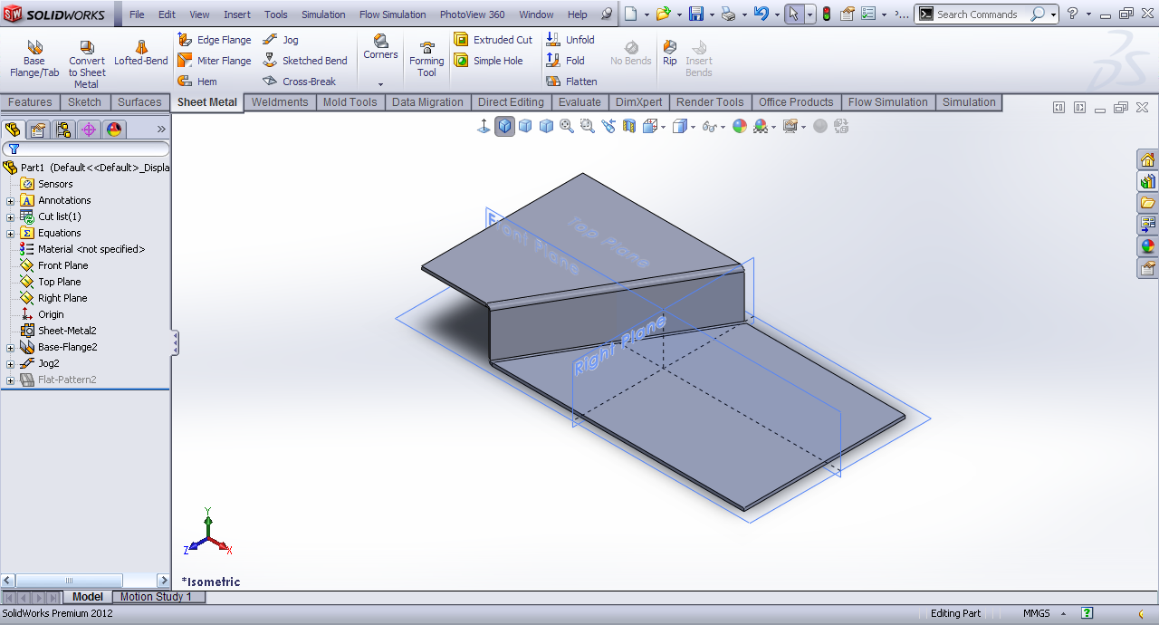 Tutorial Jog Feature Sheet Metal In Solidworks