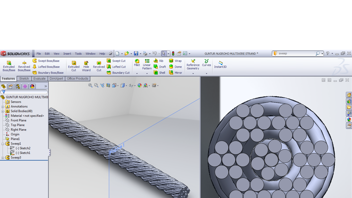 How can i winding a rope/cable in Solidworks ? | GrabCAD Questions