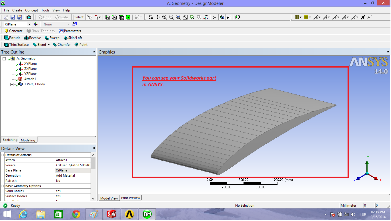 How to open an airfoil in ANSYS with using Solidworks