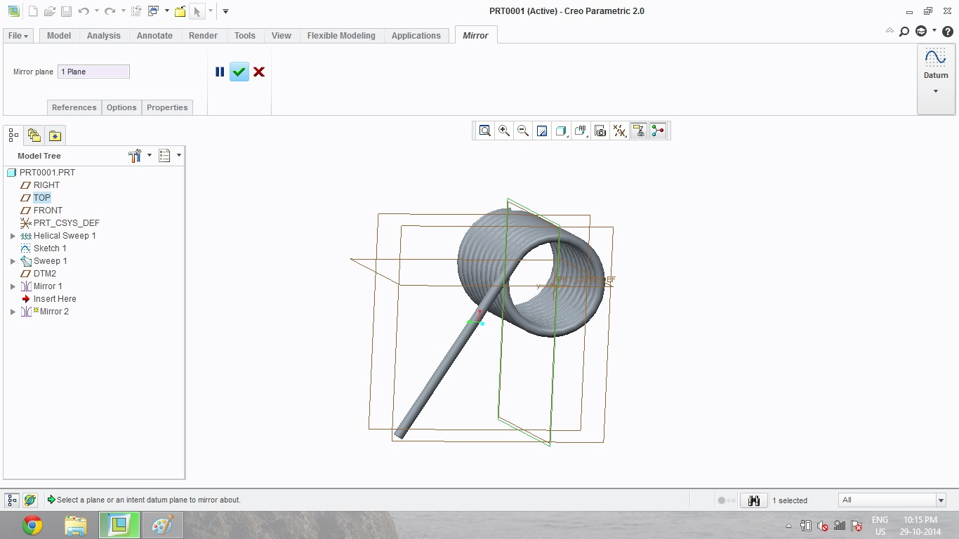 How to create a torsional spring in Creo Parametric 2.0
