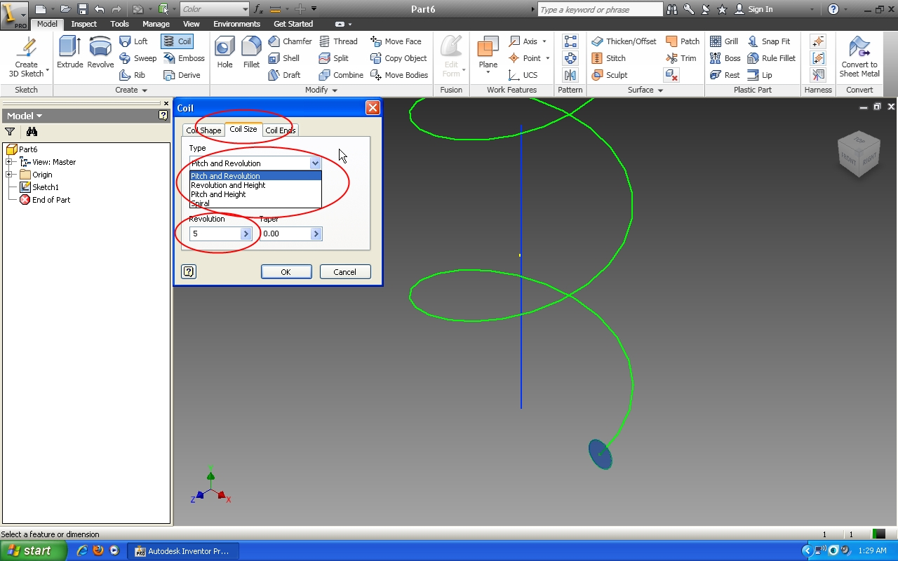 Tutorial: How to use coil feature in Autodesk Inventor? | GrabCAD